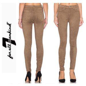 7FAM Tan Faux Suede Snakeskin Skinny Jeans